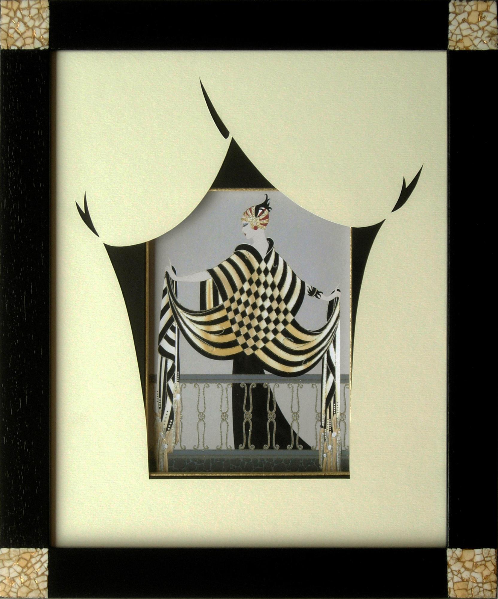 cadre réalisé à la gomme laque avec des incrustations de coquilles d'œufs, les marges sont découpées et décorées en harmonie avec le sujet de style Art Déco