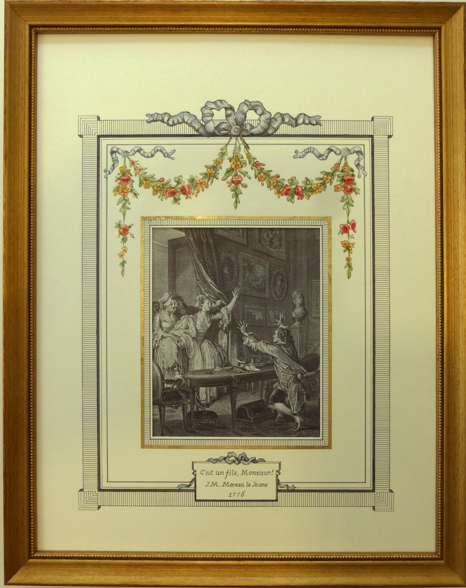 Lavis de style Louis XVI réalisé à la main à l'aquarelle et à l'encre avec un filet en papier doré
