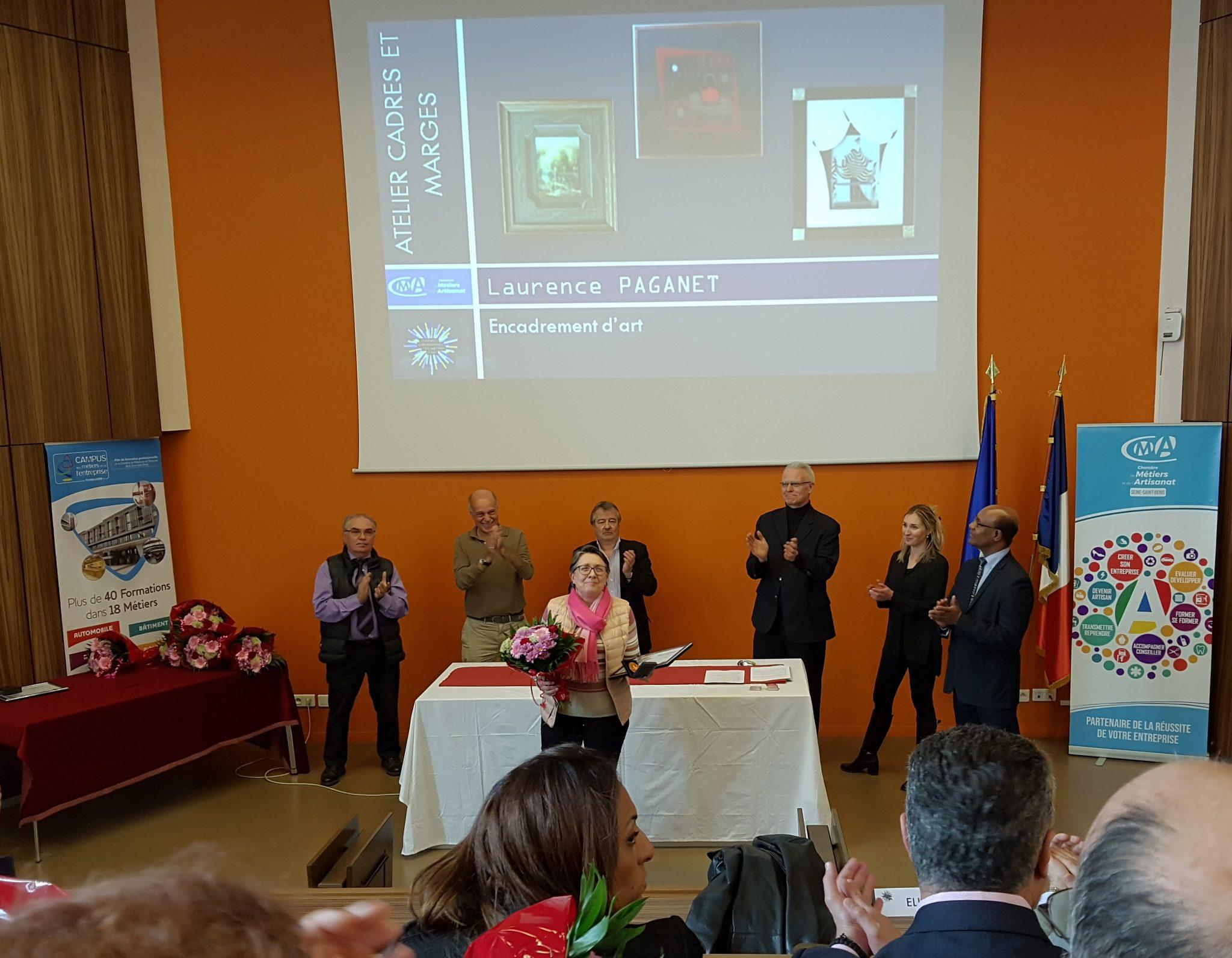 Laurence Paganet reçoit le prix d'excellence en artisanat d'art le 5 avril 2019 à la Chambre de Métiers et d'Artisanat de la Seine-Saint-Denis